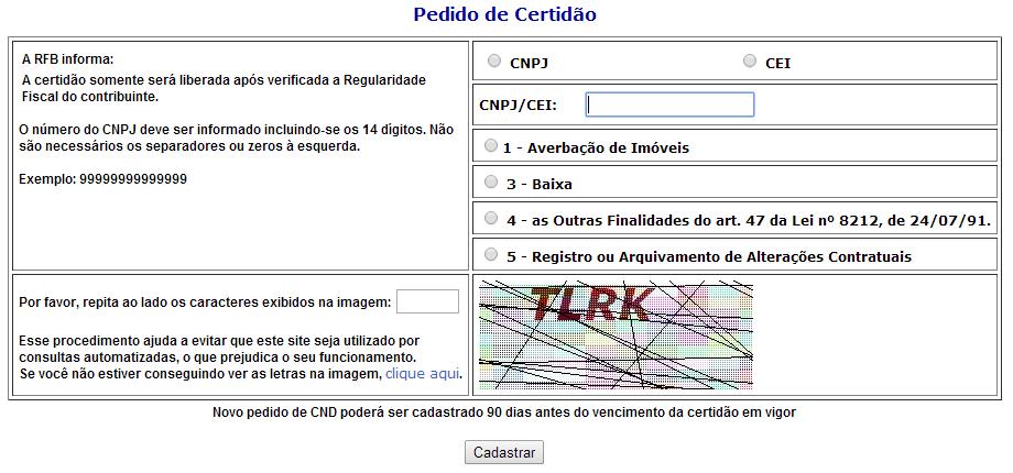 Pedido de Certidão CND INSS