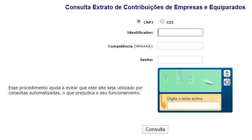 Extrato de Contribuição do INSS Empresa